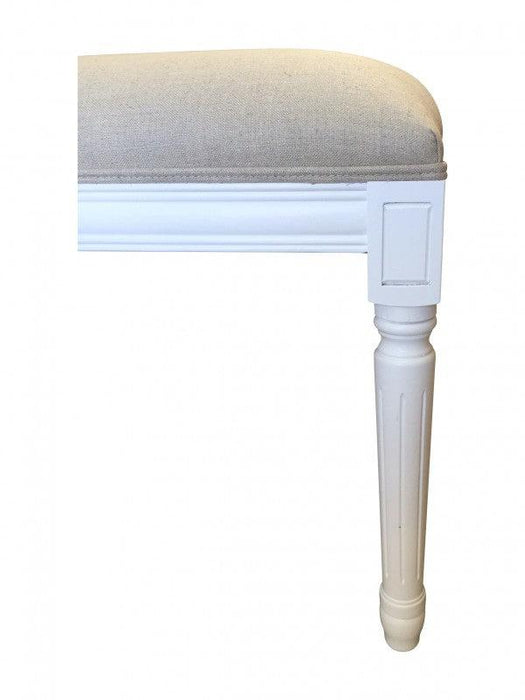 Natural Linen Bed Ottoman - Matt White Frame
