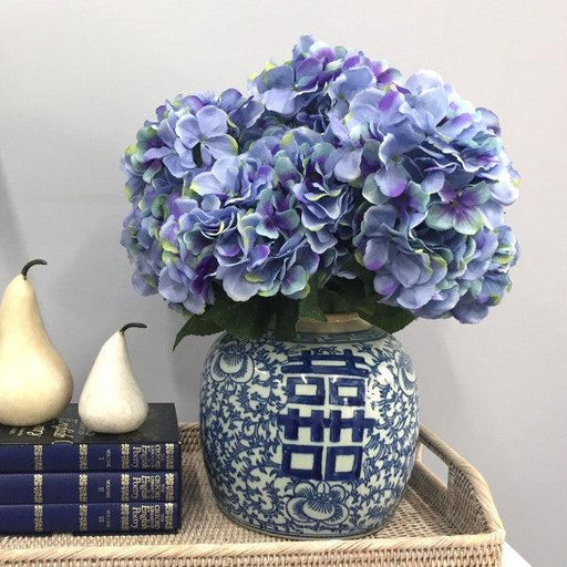 Artificial Blue Hydrangea Stem