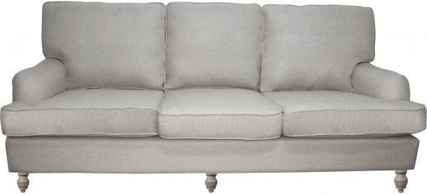 Natural Linen Roll Arm Sofa - 3 Seater