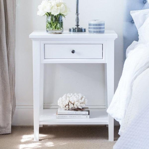 White Bedside Table - 1 Drawer