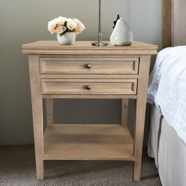 Oak Bedside Table 2 Drawers