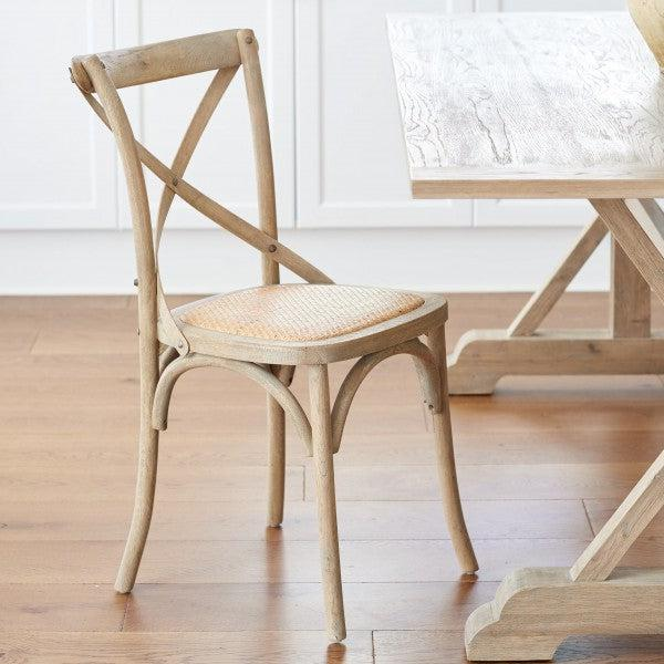 Set of 2 Oak Cross Back Chairs