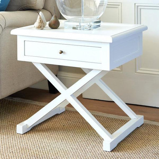 White Cross Leg Side Table