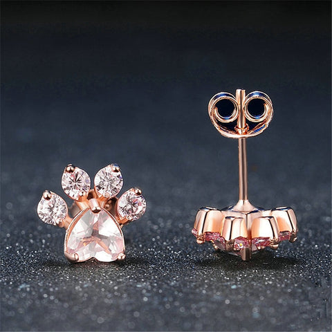 2018 New Hot Trendy Cute Rose Gold Cat Paw Earrings For Women