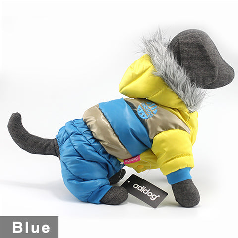 New Arrival - Adidog Warm Waterproof Dog Suit With Furry Hoodie For Winter