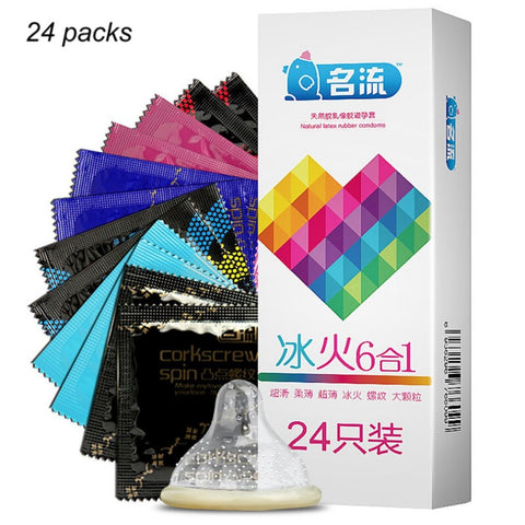 24pcs Mixed Types Condoms - Super Thin / Ice & Fire