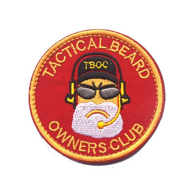 Tactical Beard Owners Club Embroidery Patch - Red