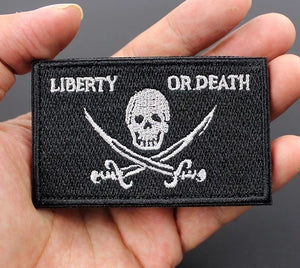 Tactical Morale Badge Embroidered Patches - Liberty Or Death - Black & White