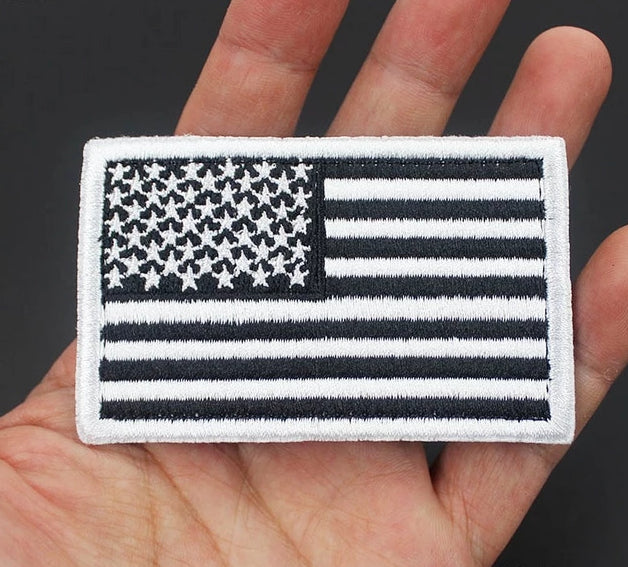 Tactical Morale Badge Embroidered Patches - American Flag - Black & White