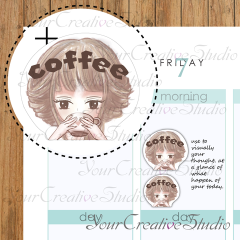 kawaii coffee emoji Stickers - YourCreativeStudio