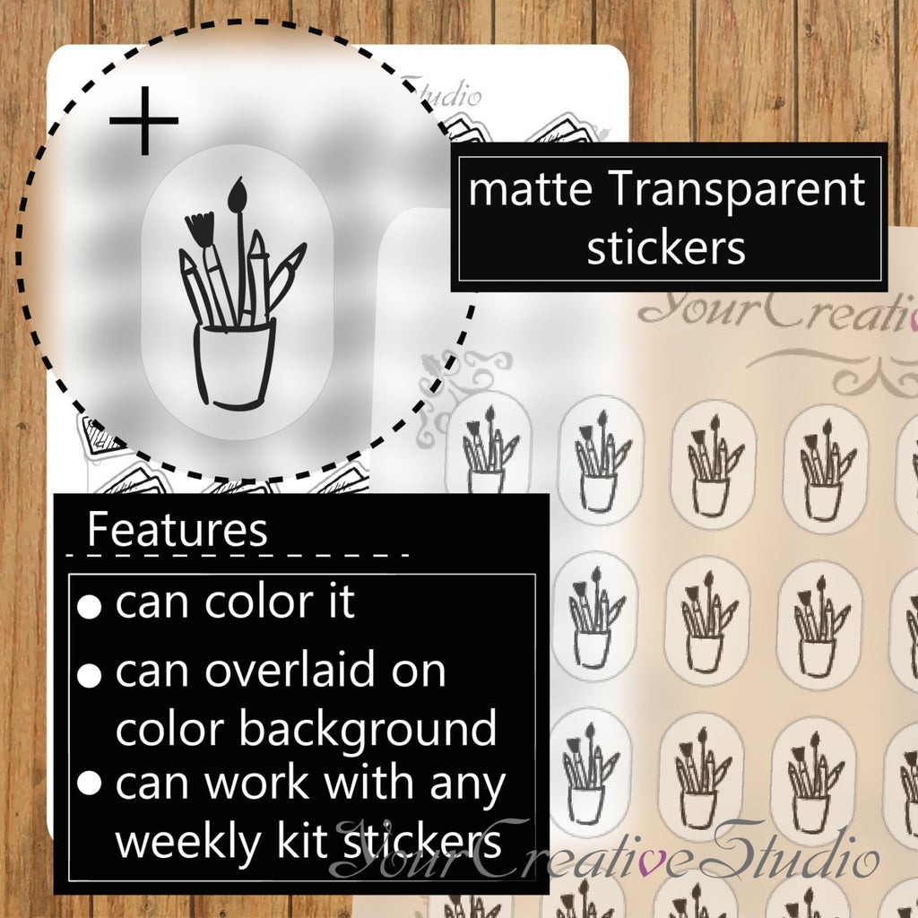Transparent clear matte Paint Stickers - YourCreativeStudio
