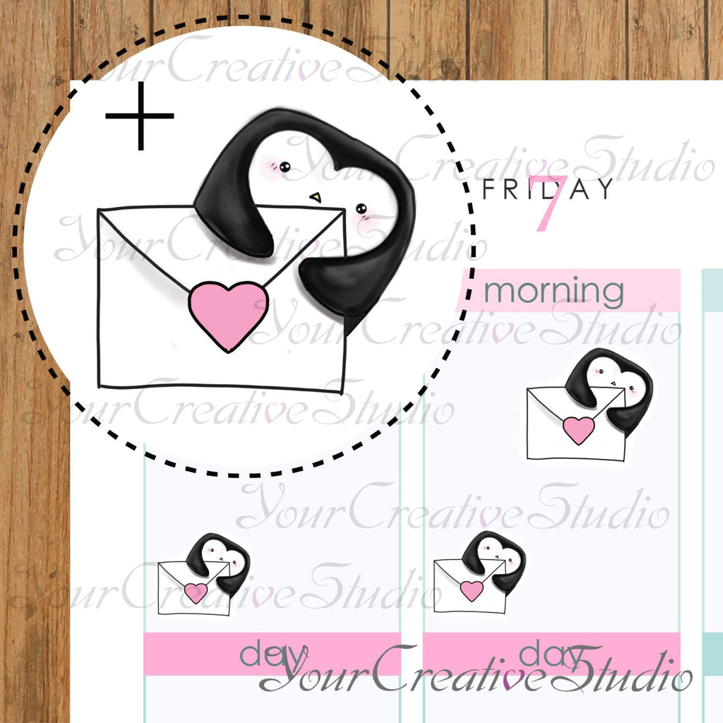 Kawaii mail Heart Shape Penguins stickers - YourCreativeStudio
