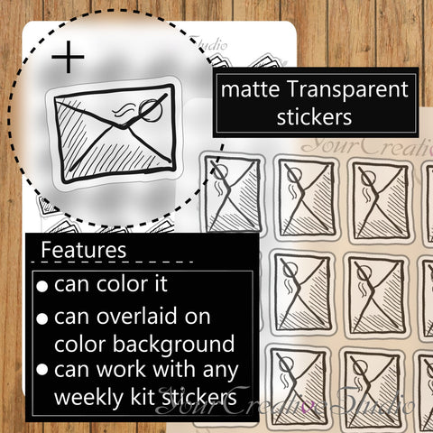 Transparent clear matte mail Stickers - YourCreativeStudio