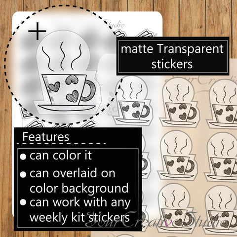 Transparent clear matte tea Stickers - YourCreativeStudio
