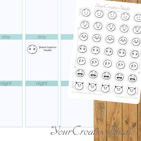 Transparent clear matte emoji Stickers - YourCreativeStudio