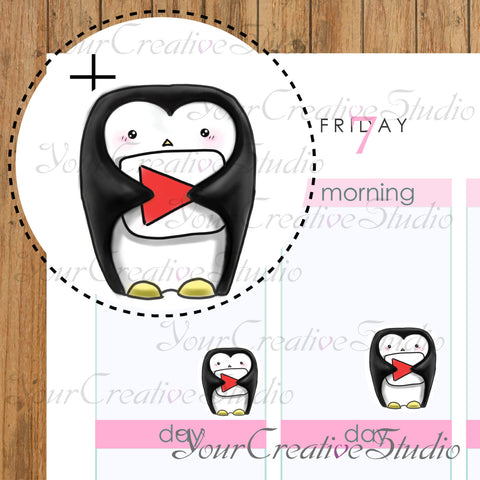Kawaii youtube Penguins Heart Shape stickers - YourCreativeStudio