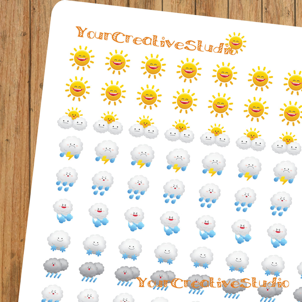 96 Teen Tiny kawaii weather planner stickers - YourCreativeStudio