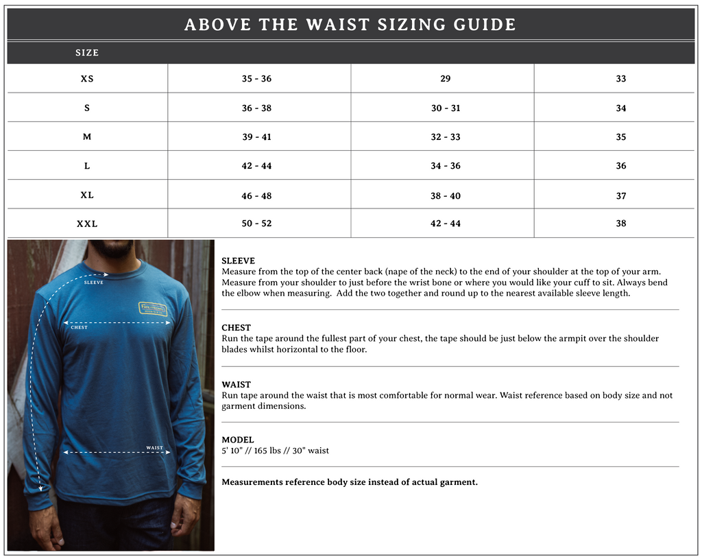 Above the waist Sizing Guide