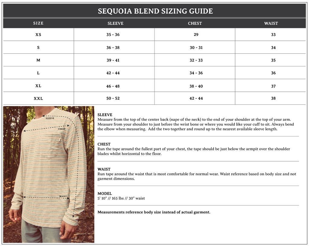 Sequoia Blend Size Chart
