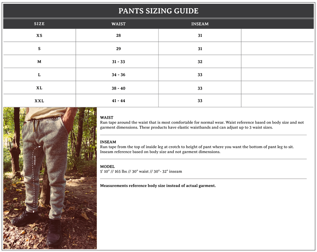 Pants Sizing Guide