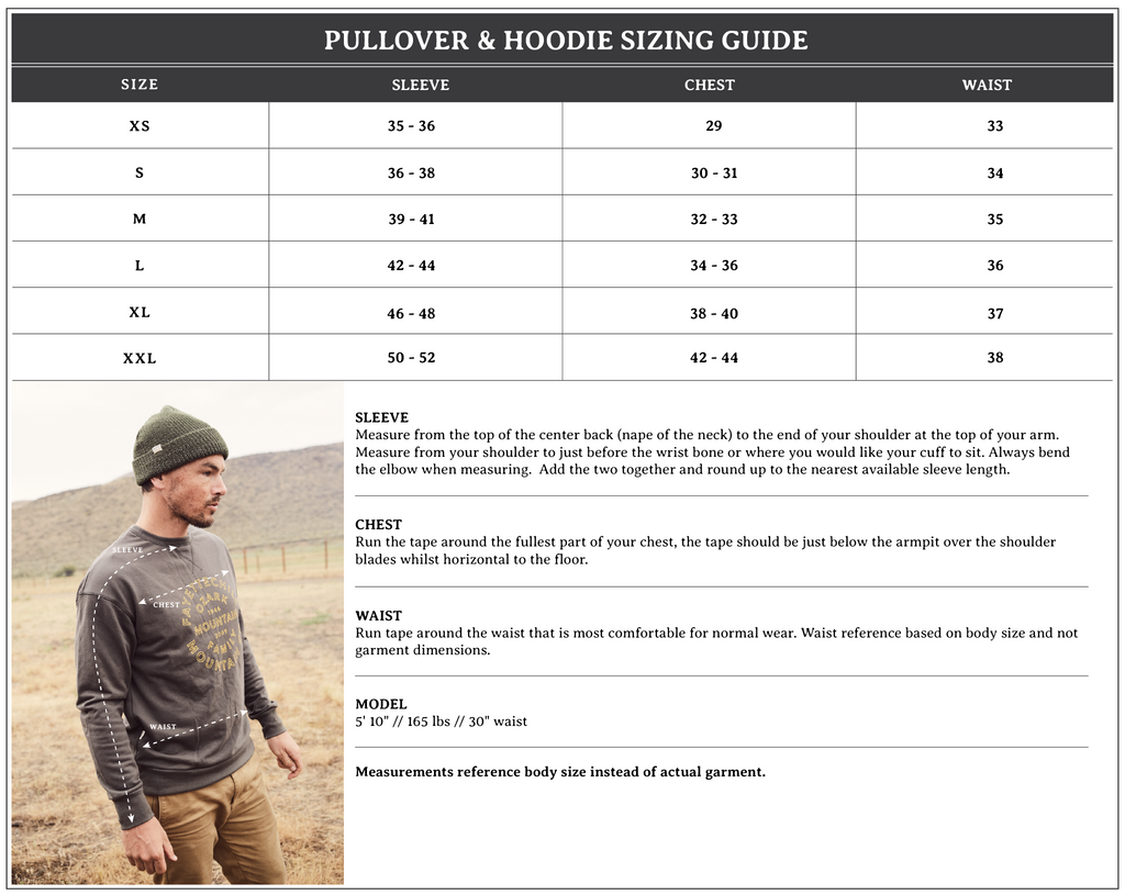 Pullover Size Chart