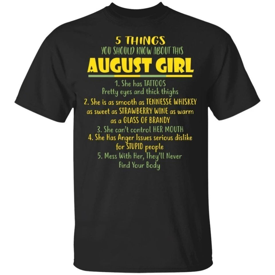5 Things You Should Know About August Girl Birthday T-Shirt Gift Ideas-Bounce Tee