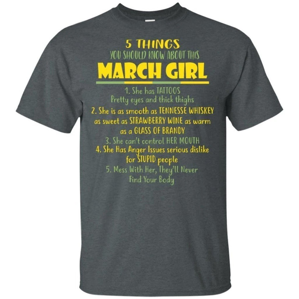 5 Things You Should Know About March Girl Birthday T-Shirt Gift Ideas-Bounce Tee