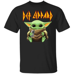 Baby Yoda Shirt Baby Yoda And Def Leppard T-shirt For Rock Fans VA12-Bounce Tee