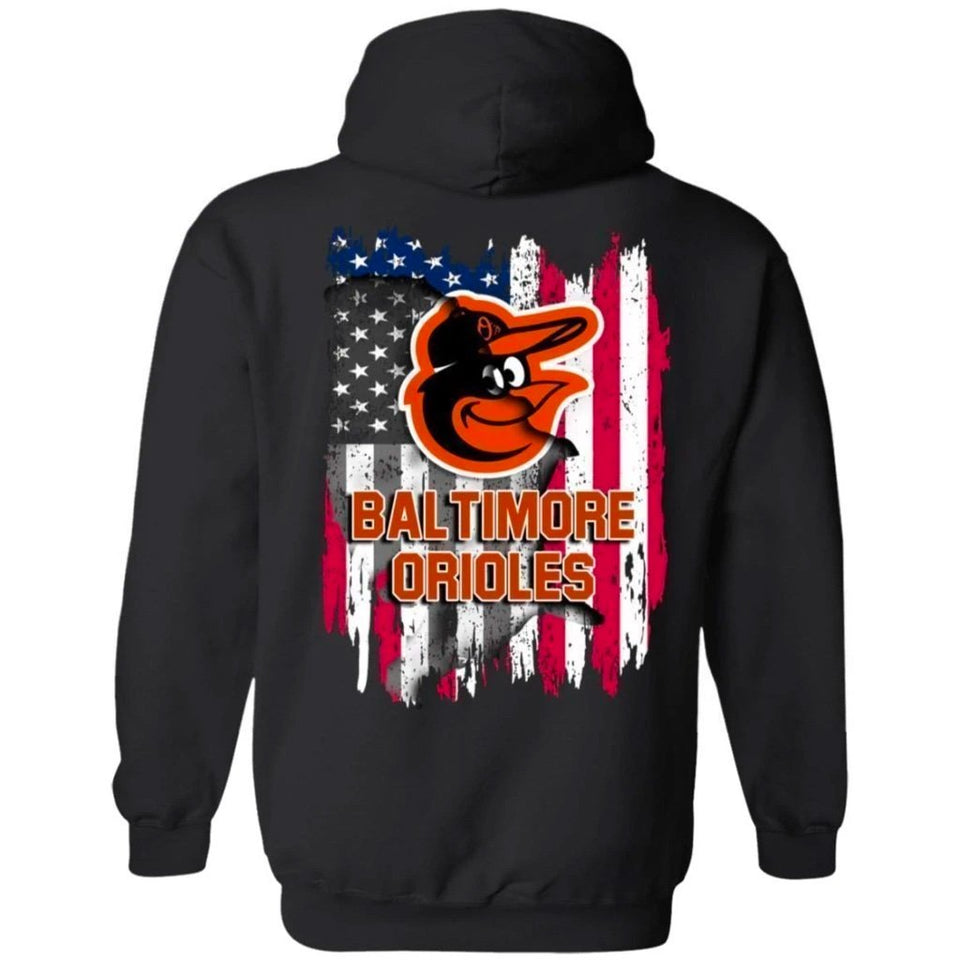 Baltimore Orioles American Flag Hoodie Men Women Fan-Bounce Tee