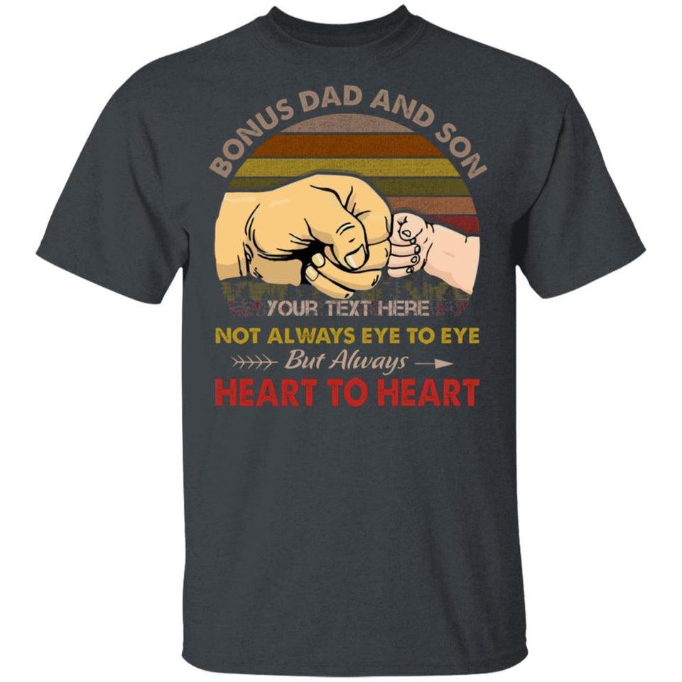 Bonus Dad And Son Personalized T-shirt Always Heart To Heart Vintage Tee MT05-Bounce Tee