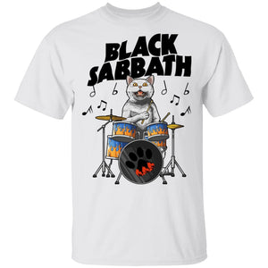 Cat Drummer Black Sabbath T-shirt Rock Tee MT04-Bounce Tee
