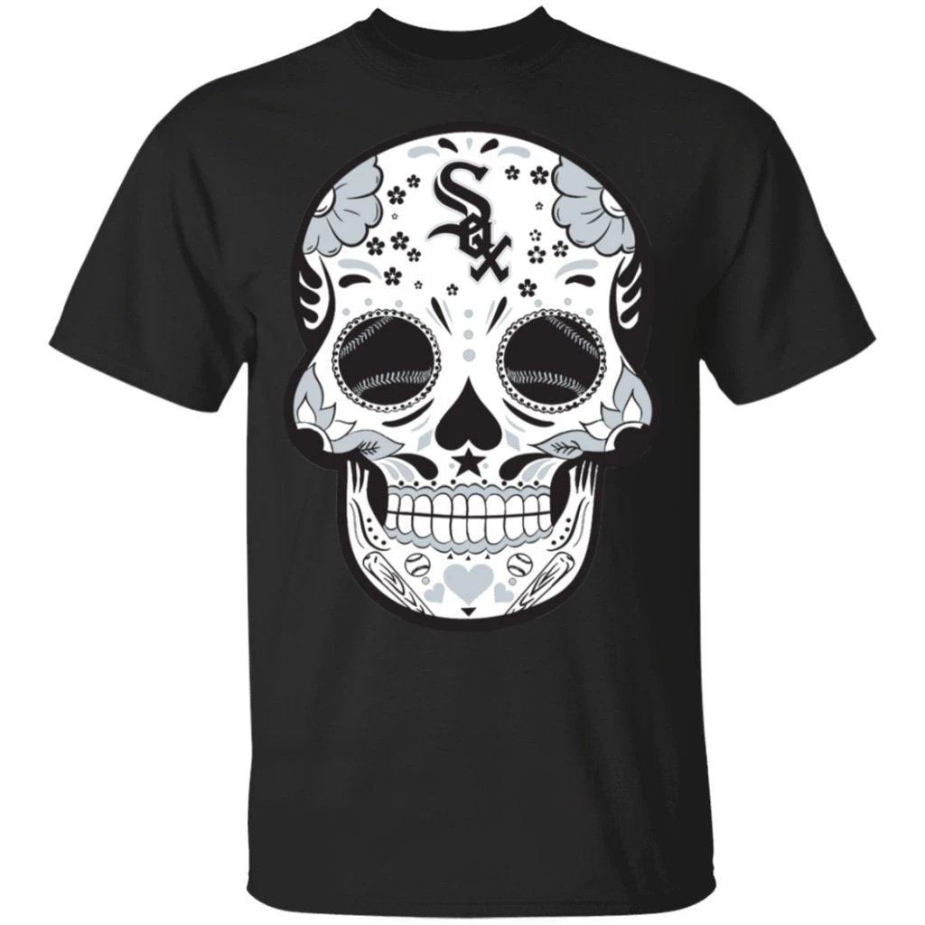 Chicago White Sox Sugar Skull Baseball Team Shirt Fan Gift Idea LT02-Bounce Tee