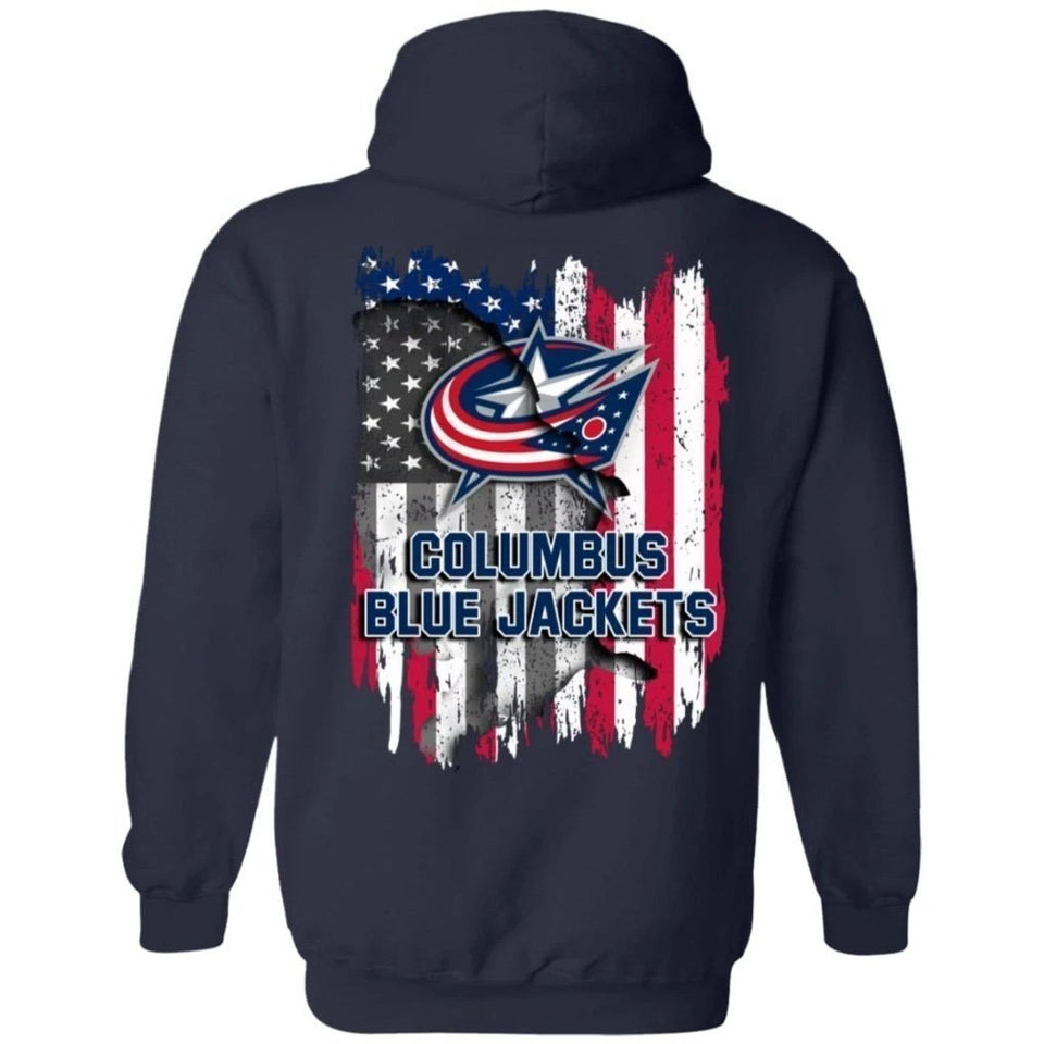 Columbus Blue Jackets American Flag Hockey Hoodie Men Women Fan-Bounce Tee