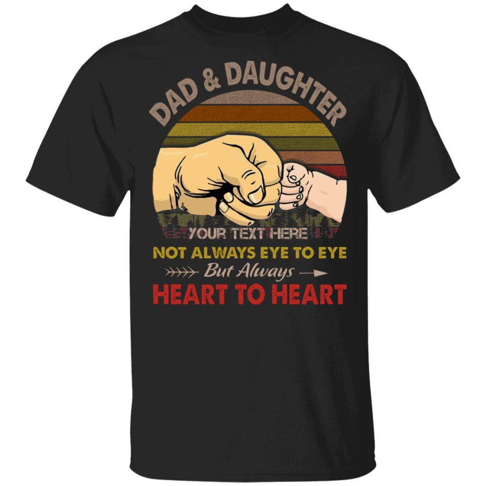 Dad And Daughter Personalized T-shirt Always Heart To Heart Vintage Tee MT05-Bounce Tee