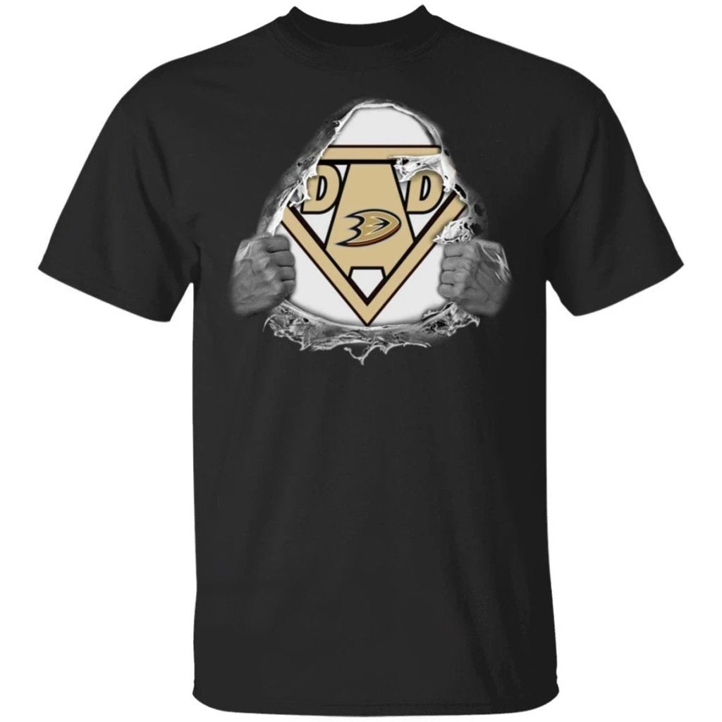 Dad Super Fan Anaheim Ducks Hockey T-Shirt Gift For Dad-Bounce Tee
