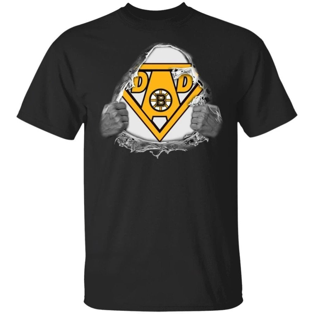 Dad Super Fan Boston Bruins Hockey T-Shirt Gift For Dad-Bounce Tee