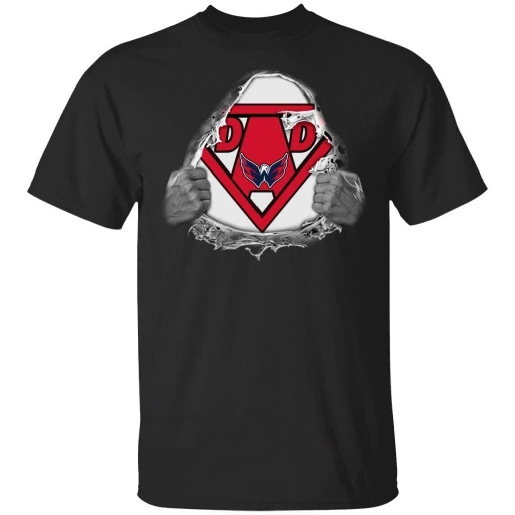 Dad Super Fan Capitals T-Shirt Gift For Dad Fan-Bounce Tee