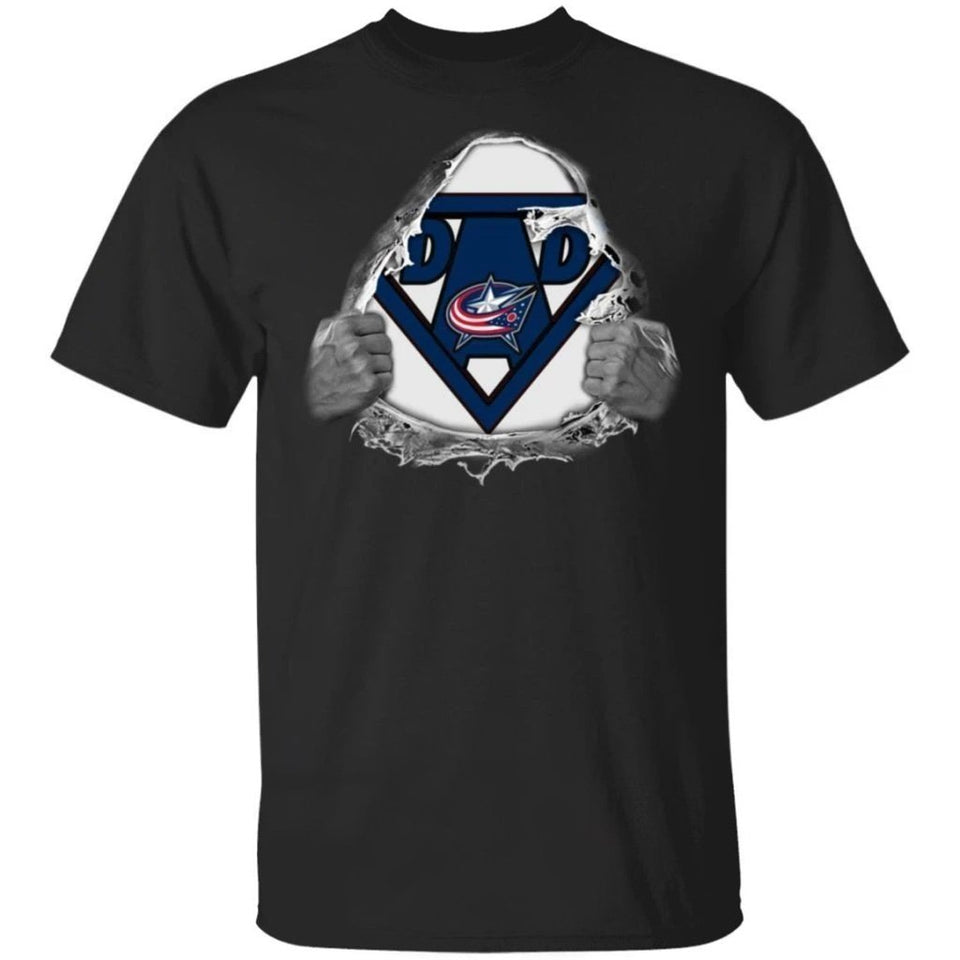 Dad Super Fan Columbus Blue Jackets Hockey T-Shirt Gift For Dad-Bounce Tee