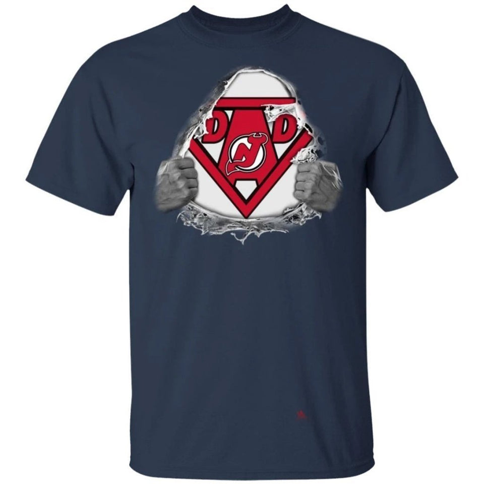 Dad Super Fan New Jersey Devils Hockey T-Shirt Gift For Dad-Bounce Tee