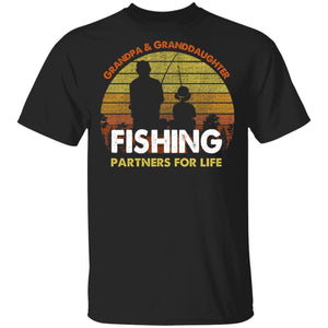 Grandpa And Granddaughter Fishing Partners For Life T-Shirt Fishing Lover-Bounce Tee