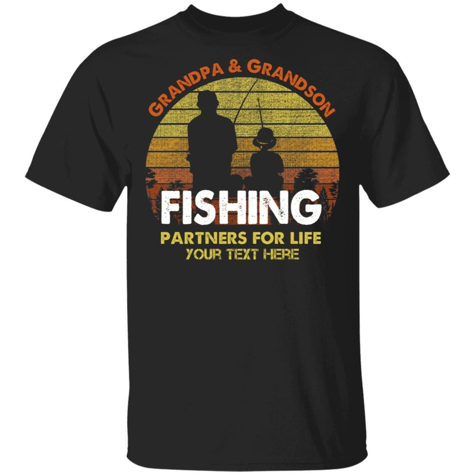 Grandpa And Grandson Fishing Partners For Life Personalized T-shirt MT05-Bounce Tee