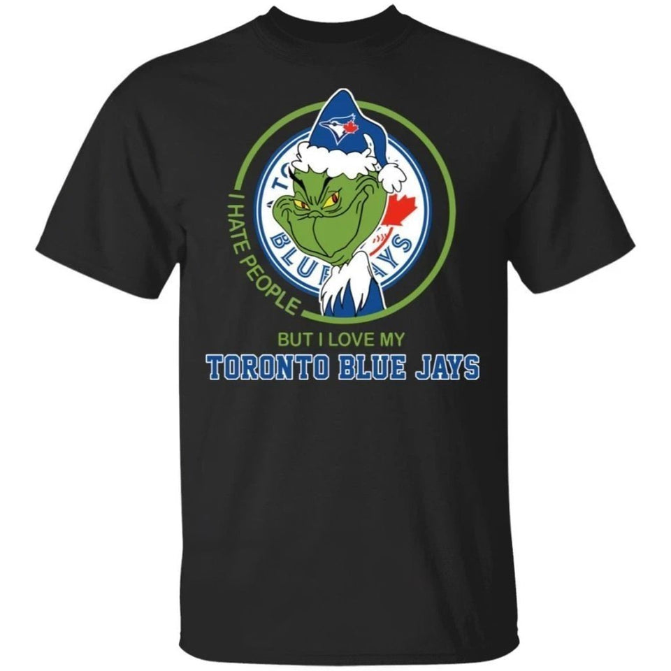 Grinch I Hate People But I Love My Blue Jays T-Shirt For Fans MN08-Bounce Tee