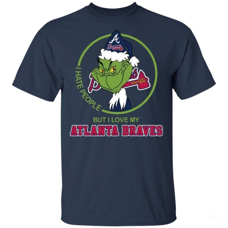 Grinch I Hate People But I Love My Braves T-Shirt For Fans MN08-Bounce Tee