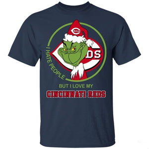 Grinch I Hate People But I Love My Cincinnati Reds T-Shirt For Fans MN08-Bounce Tee
