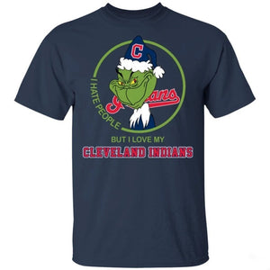 Grinch I Hate People But I Love My Cleveland Indians T-Shirt For Fans MN08-Bounce Tee