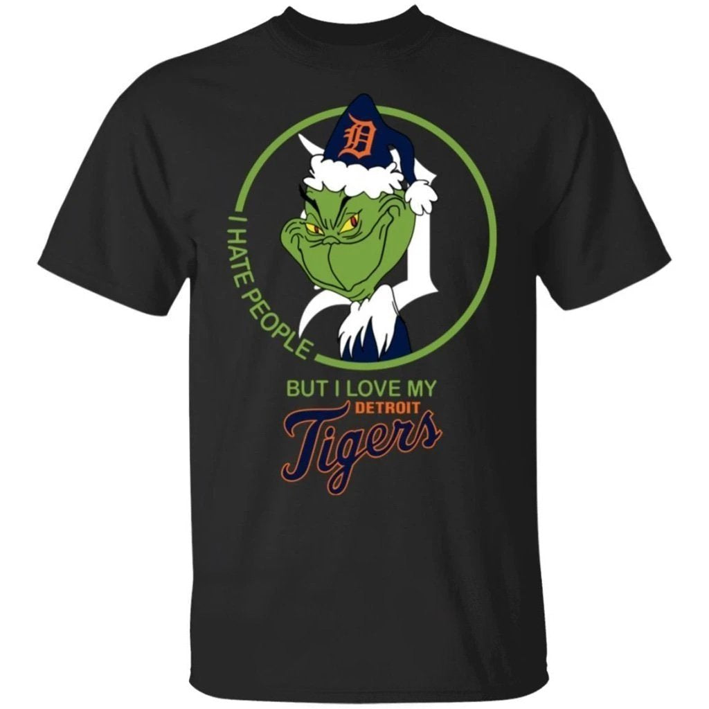 Grinch I Hate People But I Love My Detroit Tigers T-Shirt For Fans MN08-Bounce Tee