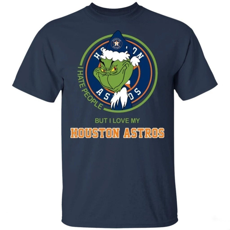 Grinch I Hate People But I Love My Houston Astros T-Shirt For Fans MN08-Bounce Tee