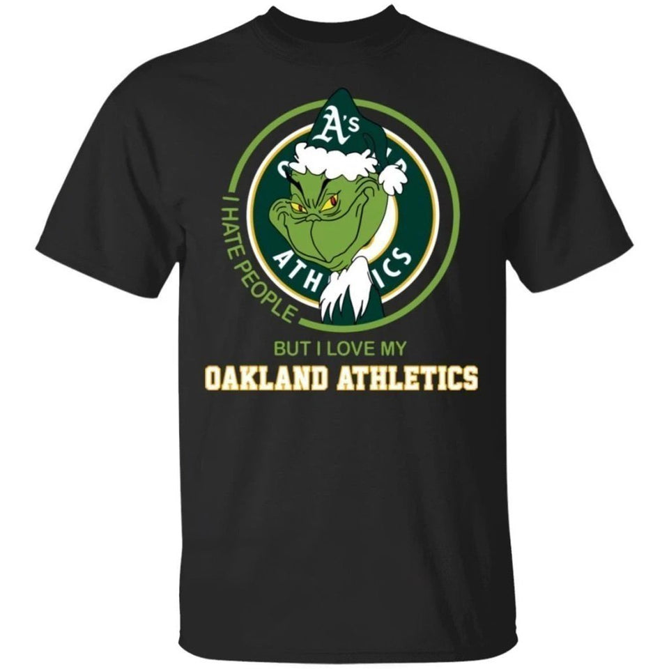 Grinch I Hate People But I Love My Oakland Athletics T-Shirt For Fans MN08-Bounce Tee
