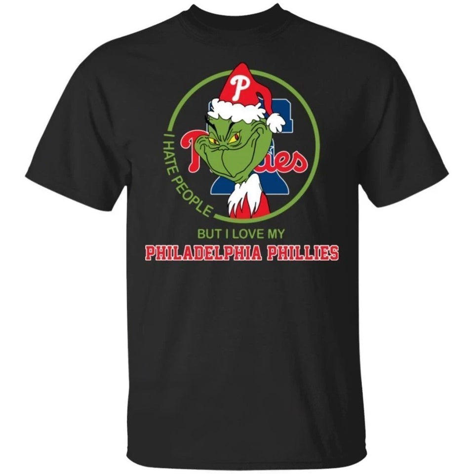Grinch I Hate People But I Love My Phillies T-Shirt For Fans MN08-Bounce Tee