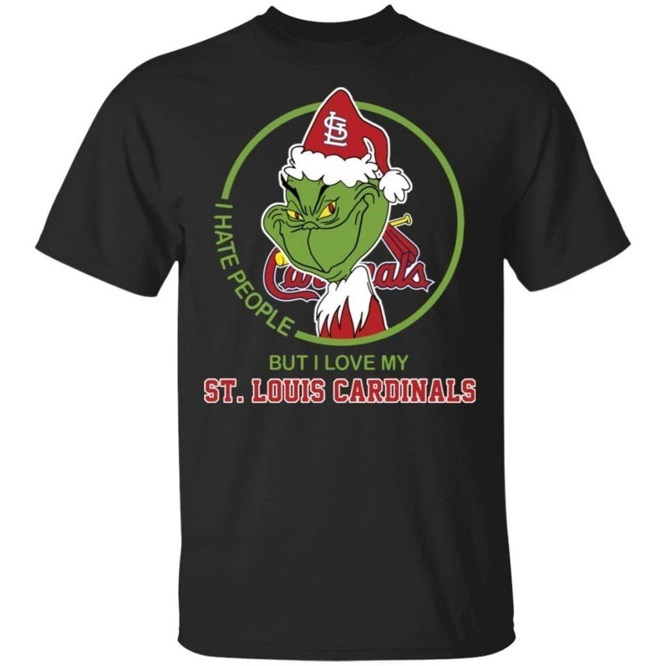 Grinch I Hate People But I Love My St Louis Cardinals T-Shirt For Fans MN08-Bounce Tee